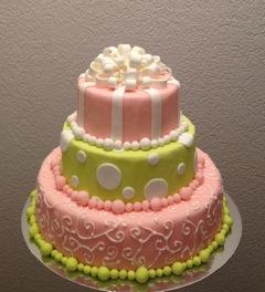 gâteau rose-vert