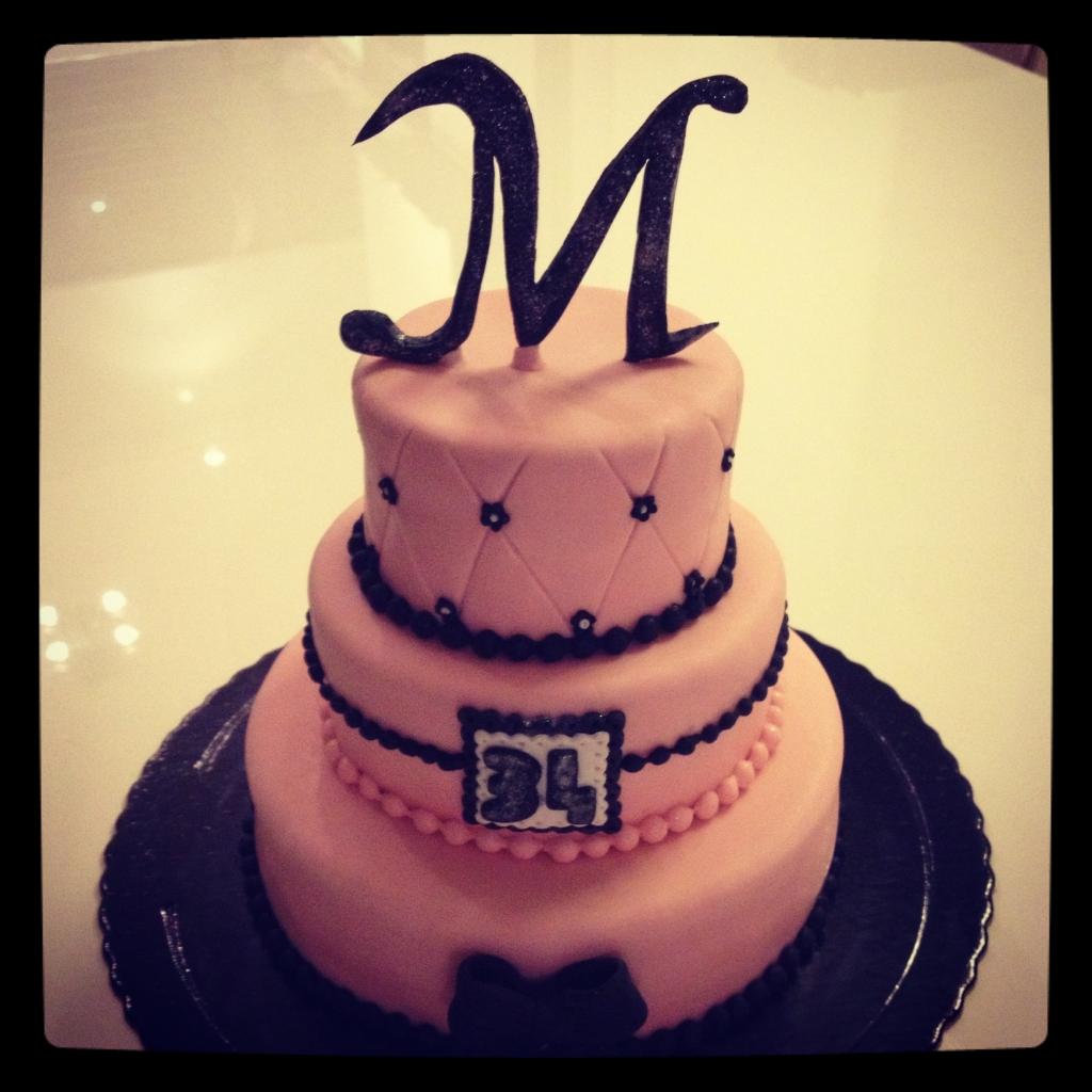 gâteau d'anniversaire rose-noir