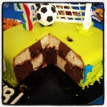 gâteau choc/vanille quadrillé - ganache Nutella