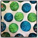 cake pops vert et bleu