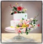 Gâteau de mariage, fleurs en sucre ( sugarflowers )