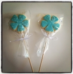 biscuits fleurs turquoise