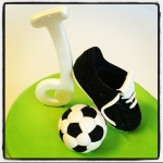 chaussure et ballon de foot en sucre